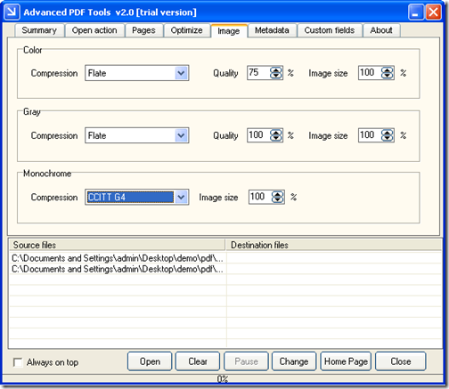 Image tab of Advanced PDF Tools