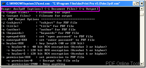command line usage
