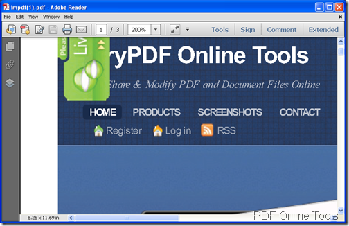 created PDF after the conversion from webpage to PDF