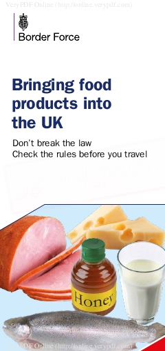 Bringing food products into the UK