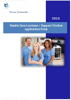 Health Care Assistant/ Support Worker Application Form