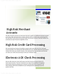 High Risk Merchant Accounts