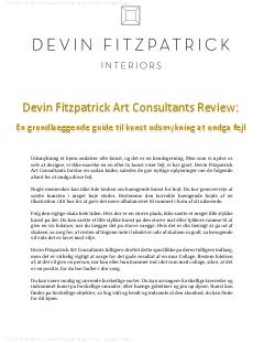 Devin Fitzpatrick Art Consultants Review – En grundlaeggende guide til kunst udsmykning at undga fejl